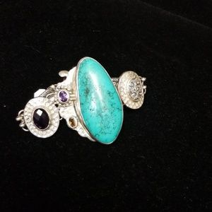 Jewelry - Hand crafted silver and turquoise antique bracelet